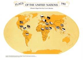 16 UN FLAGS OF MEMBER NATIONS FDC